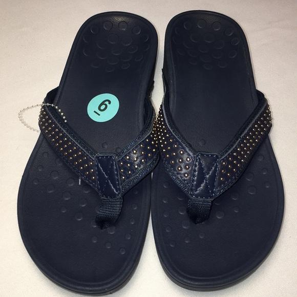 cfde89942d48 New Navy Blue Vionic Kehoe Wedge Sandals. M 5b60e5214cdc30667f6505f0